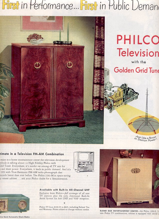 1953  PHILCO TELEVISION WITH THE GOLDEN GRID TUNER MAGAZINE AD  (168)