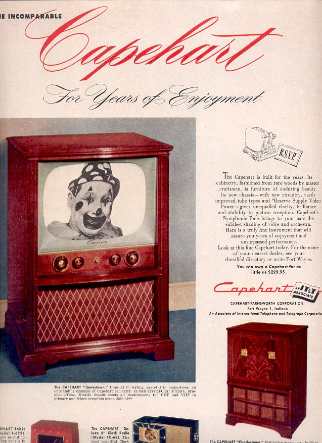 1953 CAPEHART TELEVISIONS AND RADIOS MAGAZINE AD  (186)