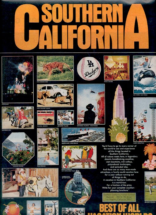 1972 SOUTHERN CALIFORNIA - BEST OF ALL VACATION WORLDS MAGAZINE AD  (37)