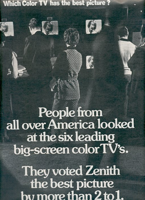 1972 ZENITH SUPER CHROMACOLOR TELEVISION DOUBLE PAGE MAGAZINE AD  (43)