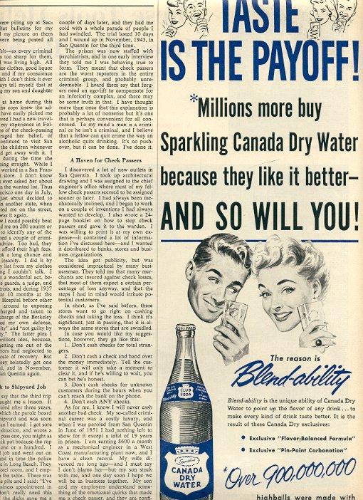 1953 SPARKLING CANADA DRY WATER CLUB SODA MAGAZINE AD  (198)