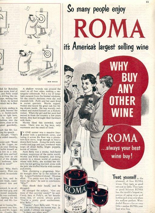 1953 ROMA WINE MAGAZINE AD  (200)