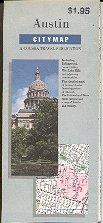 AUSTIN TEXAS CITY MAP BY GOUSHA TRAVEL 1989 NEAR MINT