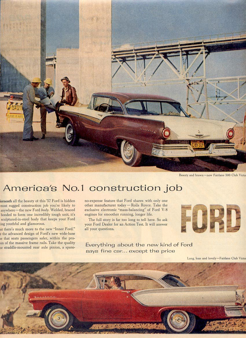 1957  FORD FAIRLANE CLUB VICTORIA MAGAZINE AD (215)