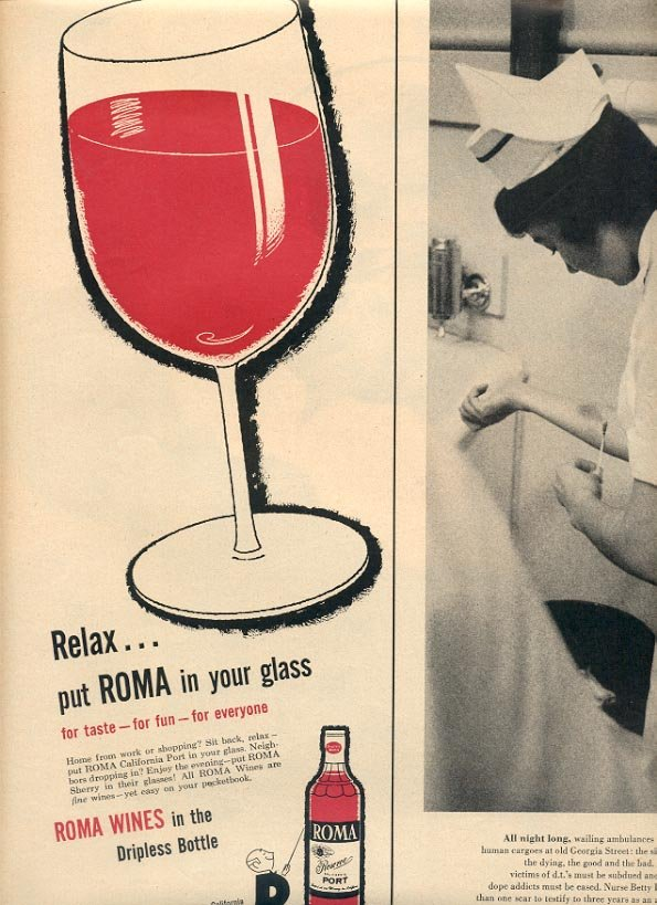1957 ROMA RESERVE PORT WINE - FRESNO CALIFORNIA MAGAZINE AD (246)