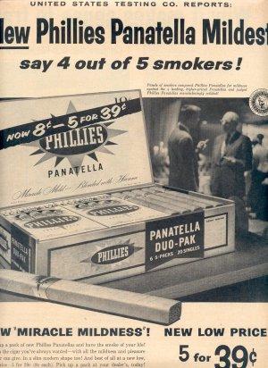 1958 NEW PHILLIES PANATELLA MILDEST CIGARS MAGAZINE AD (253)