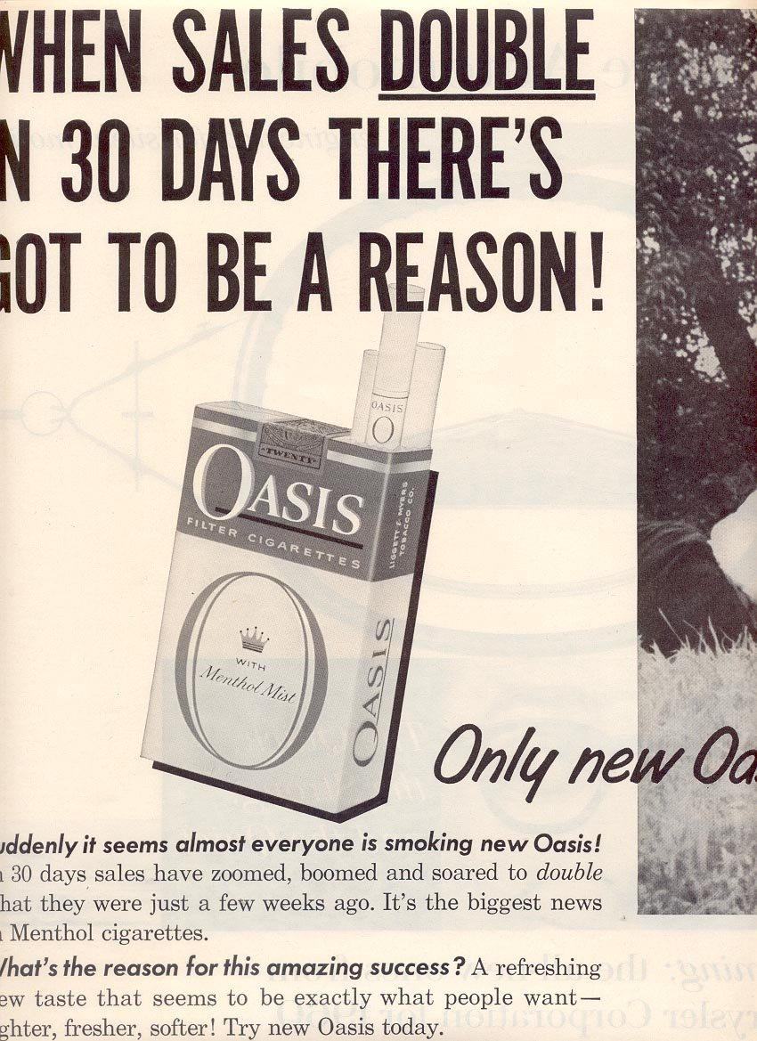 1959 OASIS CIGARETTES DOUBLE PAGE MAGAZINE AD (257)