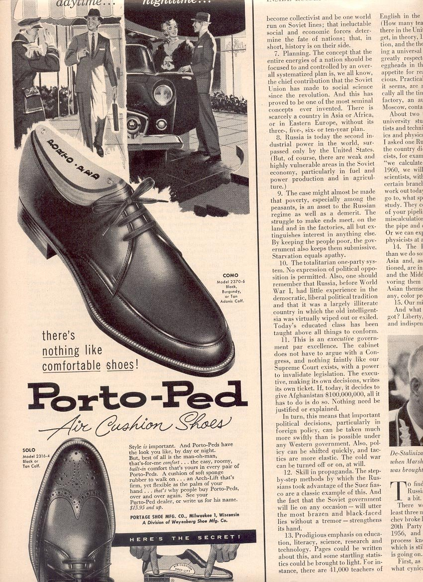 1958 PORTO-PED AIR CUSHION SHOES MAGAZINE AD (263)
