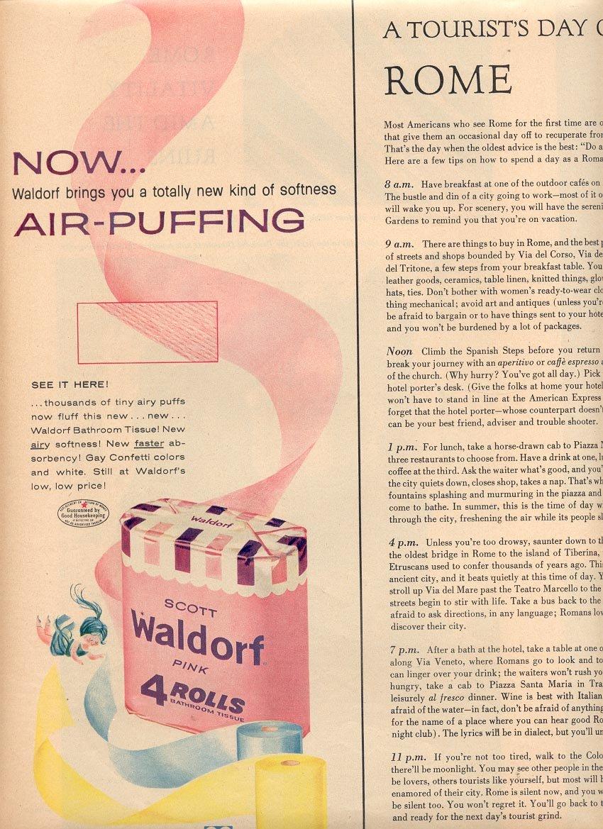 1958 SCOTT WALDORF BATHROOM TOILET TISSUE MAGAZINE AD (271)