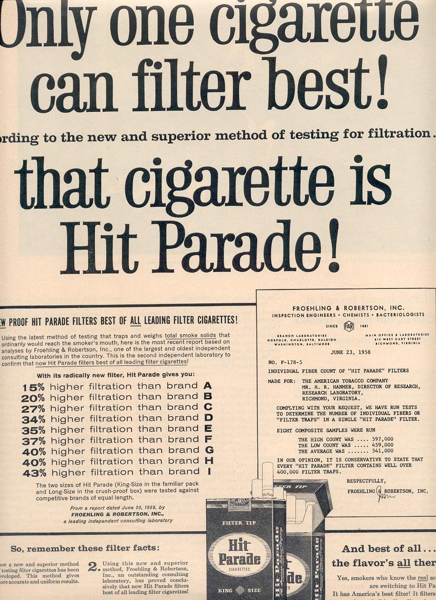 1958 HIT PARADE CIGARETTES MAGAZINE AD (274)