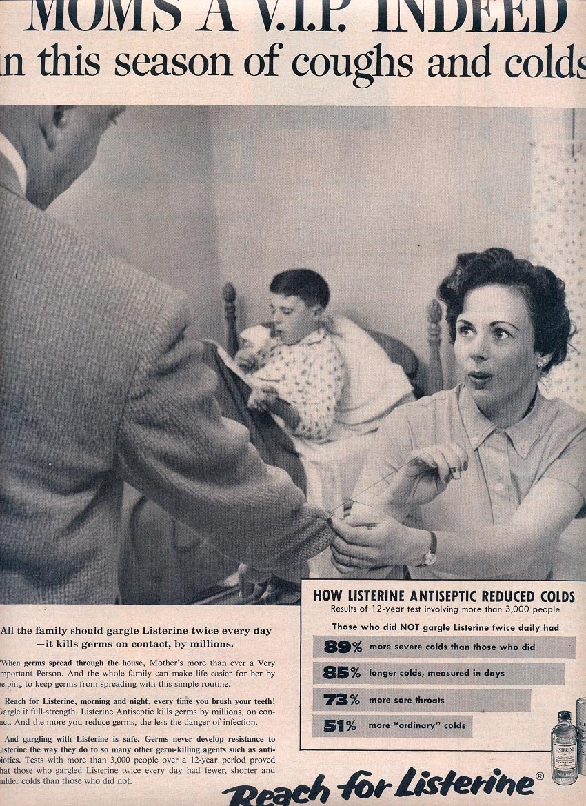 1959 MOM'S A V.I.P. INDEED - LISTERINE ANTISEPTIC REDUCED COLDS MAGAZINE AD (292)