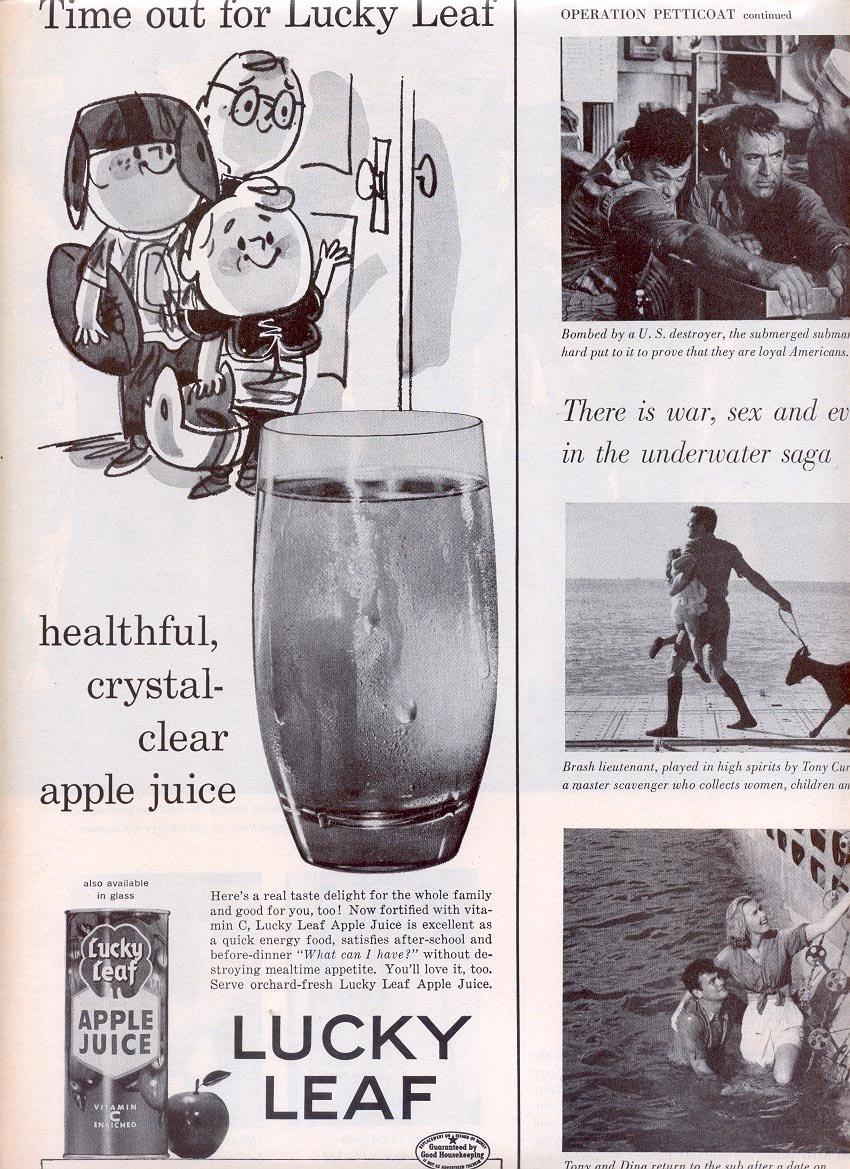 1959 LUCKY LEAF APPLE JUICE MAGAZINE AD (323)
