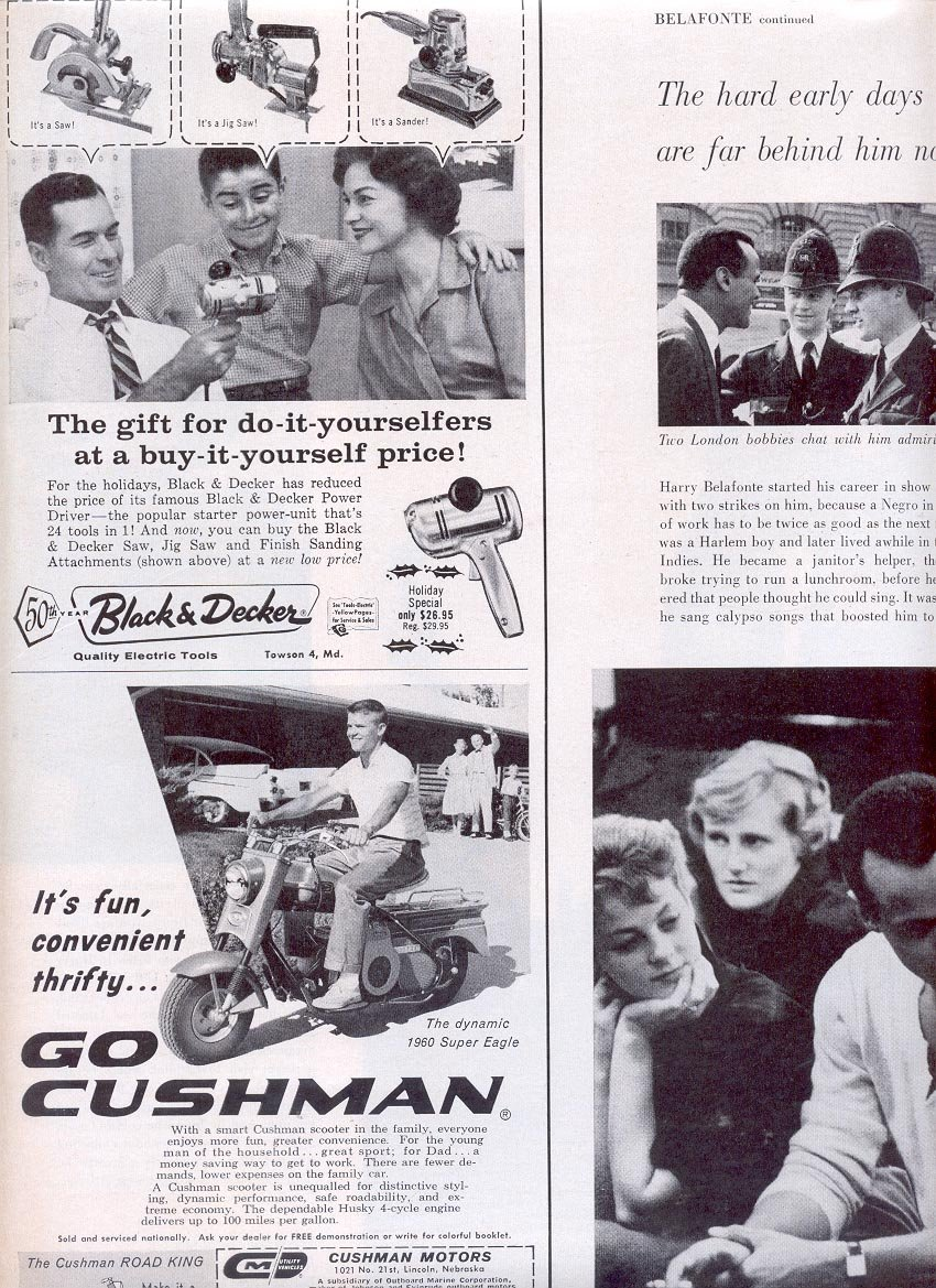 1959 BLACK & DECKER TOOLS AND GO CUSHMAN ROAD KING SCOOTER MAGAZINE AD (326)