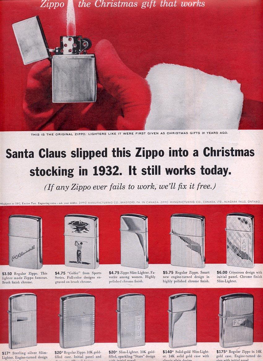 1963 ZIPPO LIGHTERS FOR CHRISTMAS MAGAZINE AD (328)