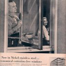 1959 INCO NICKEL STAINLESS STEEL CORROSION FREE WINDOWS MAGAZINE AD (333)