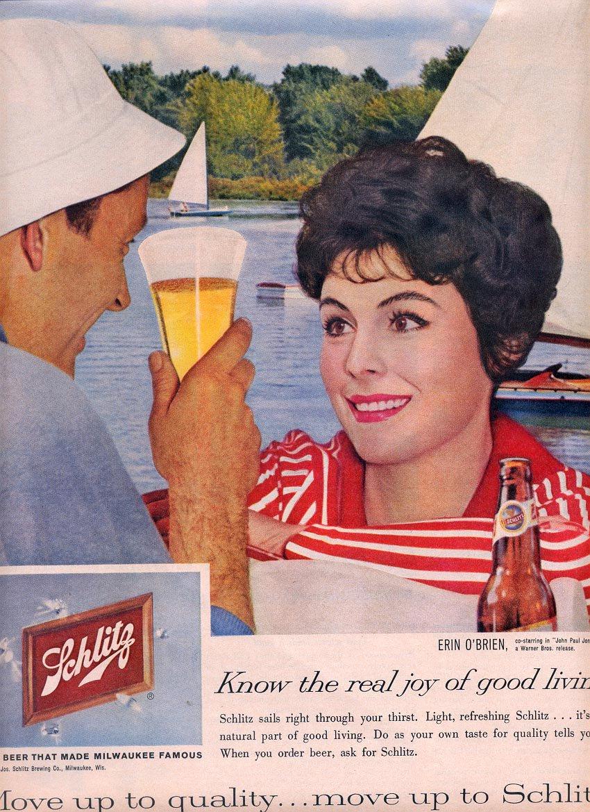 1959 SCHLITZ BEER AND ERIN O'BRIEN MAGAZINE AD (337)