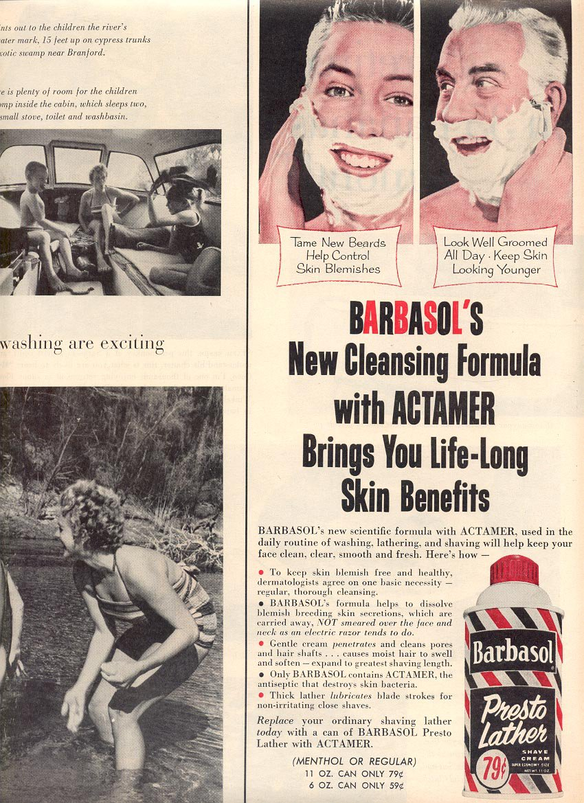 1959 BARBASOL PRESTO LATHER SHAVE CREAM MAGAZINE AD (372)