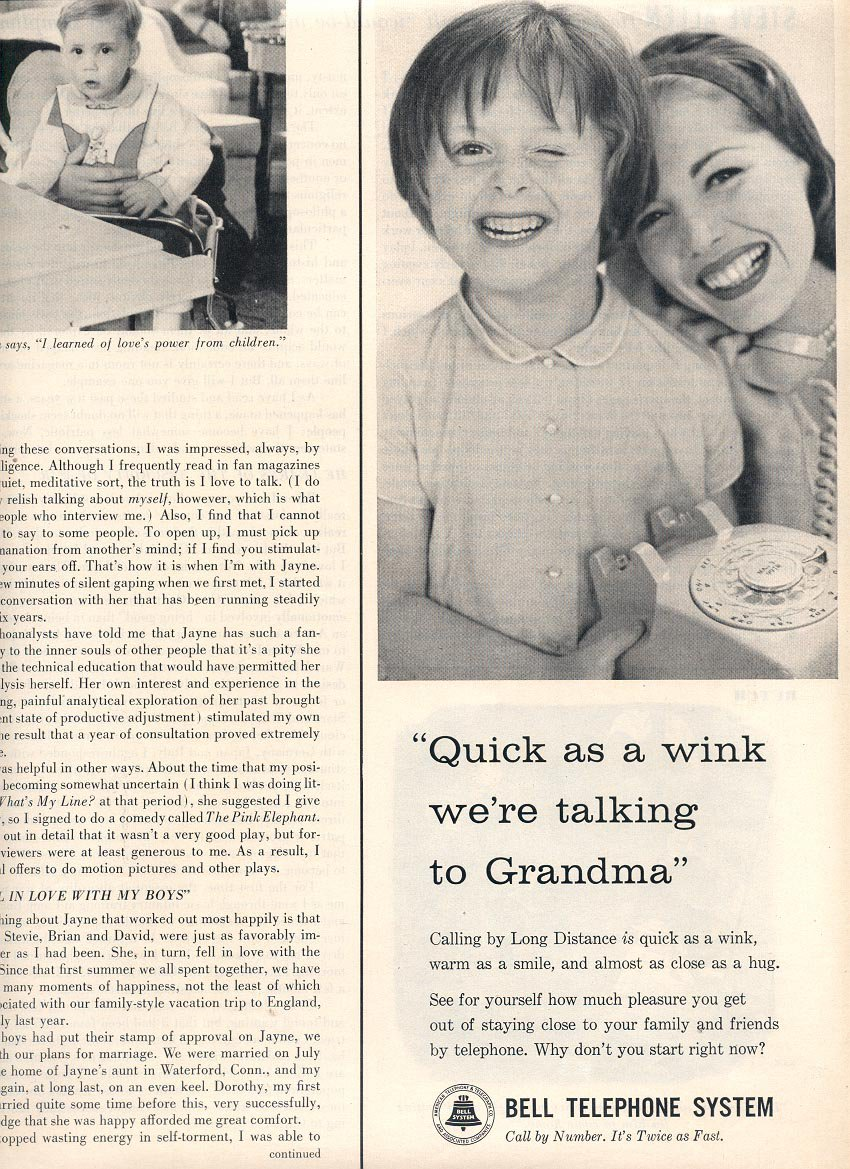 1959 BELL TELEPHONE SYSTEMS - QUICK AS A WINK WE'RE TALKING TO GRANDMA MAGAZINE AD (378)