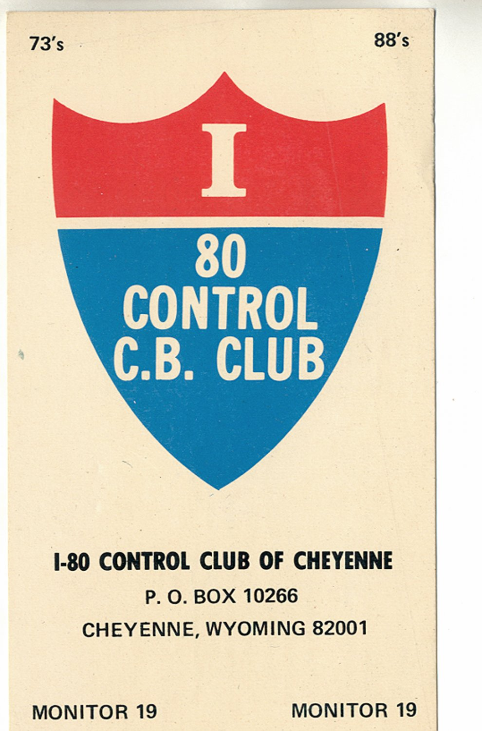 I-80 CONTROL CLUB OF CHEYENNE WYOMING COLOR POSTCARD #49 UNUSED NEAR MINT