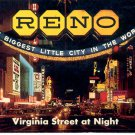 VIRGINIA STREET AT NIGHT IN RENO NEVADA COLOR POSTCARD #46 UNUSED MINT
