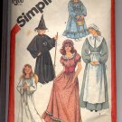 SIMPLICITY #5741 GIRLS MISSES COSTUMES PIONEER COLONIAL SEW PATTERN CUT USED OUT OF PRINT 1982
