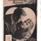 VINTAGE IN THE LAND OF BEGINNING AGAIN ~ LEO FEIST SHEET MUSIC 1918 NEAR MINT
