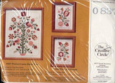 VINTAGE CRAFT KIT ~ THE CREATIVE CIRCLE - 0837 PENNSYLVANIA DUTCH TREE ~ 1985 EMBROIDERY NOS MINT