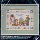 VINTAGE CRAFT KIT ~ DIMENSIONS - PLAYFUL TEDDIES BIRTH RECORD ~ 1986 CROSS STITCH MINT