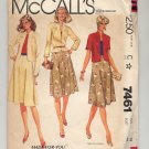 McCALL'S QUICK & EASY #7461 MISSES SKIRT & JACKET SIZE C 38 UNCUT OOP 1981 NEAR MINT