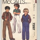 McCALL'S # 7297 CHILDS VEST SHIRT & PANTS SIZE B 2 PARTIALLY CUT OOP 1980 VG-NM