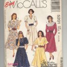 McCALL'S EASY PATTERN #5201 MISSES DRESSES SIZE D 12-16 CUT OOP 1991 NM