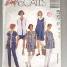 McCALL'S EASY PATTERN #8757 MATERNITY TOP PANTS SHORTS & JUMPER SIZE B 8-12 CUT OOP 1997