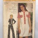 SIMPLICITY PATTERN #6499 MISS TEEN DRESS TOP PANTS SIZE 6 CUT 1974 VINTAGE