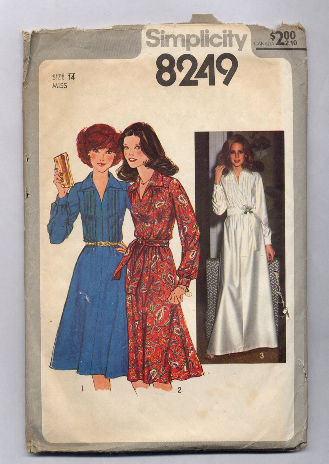 SIMPLICITY PATTERN #8249 MISSES DRESS IN TWO LENGTHS SIZE 14 CUT 1977 VINTAGE
