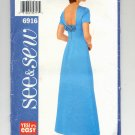 BUTTERICK SEE & SEW PATTERN #6916 MISSES PETITE DRESS SIZE A 6-10 UNCUT 2000 OOP