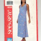 BUTTERICK SEE & SEW PATTERN # 5516 MISSES PETITE DRESS SIZE 18-22 UNCUT 1998 OOP
