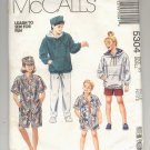 McCALL'S PATTERN # 5304 UNISEX SWEATSHIRT SHIRT PANTS OR SHORTS & HAT SIZE 7 UNCUT 1991 OOP