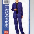 BUTTERICK SEE & SEW PATTERN # 6325 MISSES PANTS & JACKET SIZE 14-18 UNCUT 1999 OOP