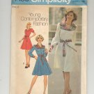 SIMPLICITY PATTERN # 7130 MISSES DRESS IN TWO LENGTHS SIZE 12 CUT 1975 VINTAGE