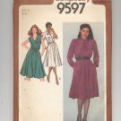 SIMPLICITY PATTERN # 9597 MISSES DRESS IN SIZE 14 CUT 1980 PETITE ADJUSTABLE VINTAGE