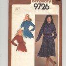 SIMPLICITY PATTERN # 9726 MISSES PULLOVER DRESS W/SASH SIZE 14 CUT 1980 VINTAGE