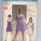 SIMPLICITY PATTERN # 8614 JR TEEN MISSES JUMPER DRESS OR TOP SIZE 5-6 CUT 1969 VINTAGE