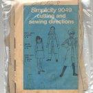 SIMPLICITY PATTERN #9049 GIRLS MINI SKIRT MIDI VEST-COAT & PANTS SIZE 7-14 CUT 1970 VINTAGE OOP
