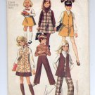 SIMPLICITY PATTERN # 8377 CHILD GIRLS JUMPER VEST SKIRT & PANTS SIZES 6 CUT 1969 VINTAGE OOP