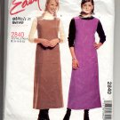McCALL'S EASY PATTERN # 2840 MISSES/PETITE DRESS & JUMPER SIZE B 16-22 CUT 2000 OOP