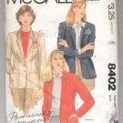 McCALL'S PALMER & PLETSCH PATTERN # 8402 MISSES JACKET SIZE 10 CUT 1983 OOP