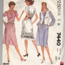 McCALL'S PATTERN # 7440 MISSES DRESS & VEST SIZE 10 BUST 32 1/2 CUT 1981 VINTAGE OOP