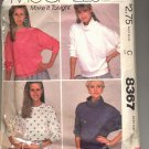 McCALL'S EASY PATTERN # 8367 MISSES TOPS FOR STRETCH KNITS SIZE SM CUT 1983 OOP