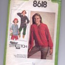 SIMPLICITY PATTERN #8618 MISSES PULLOVER KNIT TOPS TWO LENGTHS SIZE 8-12 CUT 1978 OOP~VINTAGE