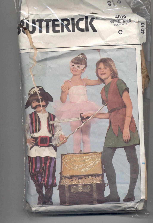 BUTTERICK PATTERN # 4010 CHILDS COSTUMES PIRATE BALLERINA ROBINHOOD SIZES C CUT 1986 VINTAGE OOP